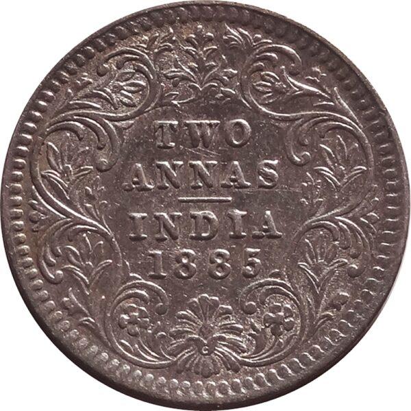 1885 2 Annas Silver Coin British India Queen Victoria Empress - Best Buy