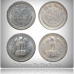 1970 1974 50 Paise Republic India Coin Bombay Mint - 2 Coins