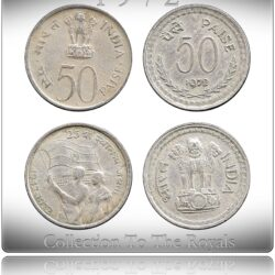 1972 50 Paise Republic India & 25th Anniversary of Independence Coin