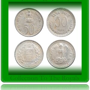 1973 1974 50 Paise Republic India Grow More Food Coin Bombay Mint