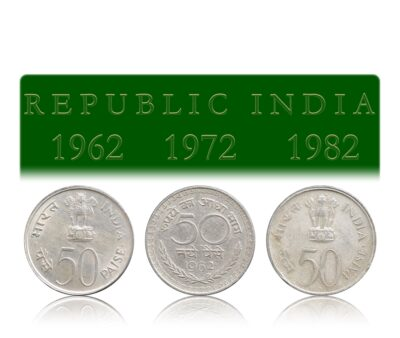 1962 50 Paise Republic India & 1972 25th Anniversary of Independence & 1982 National Integration Coin