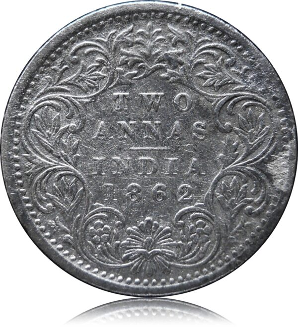 1862 Two Annas Silver Coin Queen Victoria - Bombay Mint