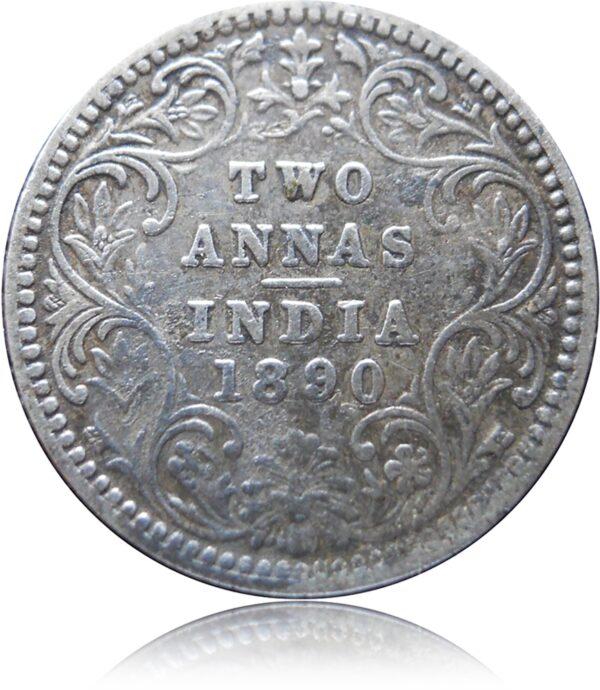 1890 2 Annas Queen Victoria Empress Bombay Mint