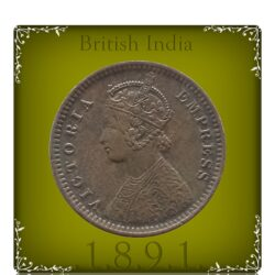 1891 1/12 Twelve Anna British India Queen Victoria Empress