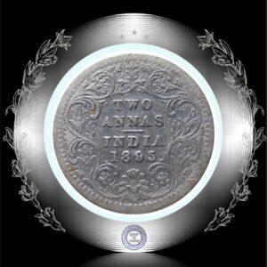 1895 Two Annas Queen Victoria Empress Bombay Mint