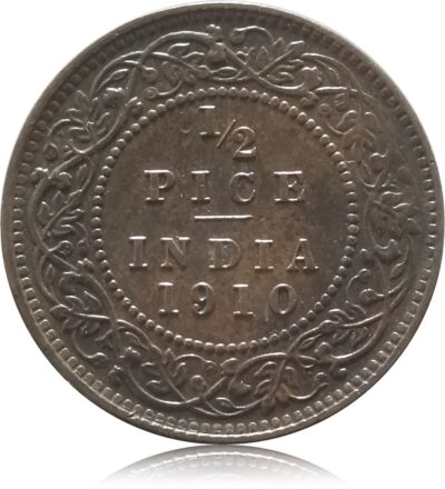 1910 1/2 Half Pice British India King Edward VII Calcutta Mint