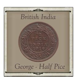 1916 1/2 Half Pice British India  King George V Calcutta Mint