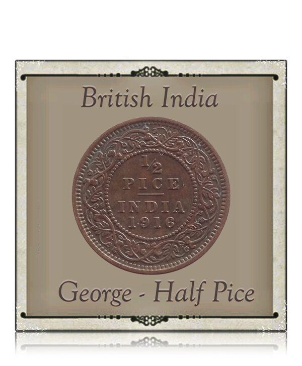 1916 1/2 Half Pice British India King George V Calcutta Mint