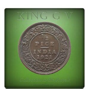 1921 1/2 Half Pice British India King George V Calcutta Mint - Best Buy