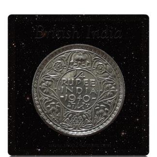 1940 1/4 Quarter Rupee British India King George V Bombay Mint