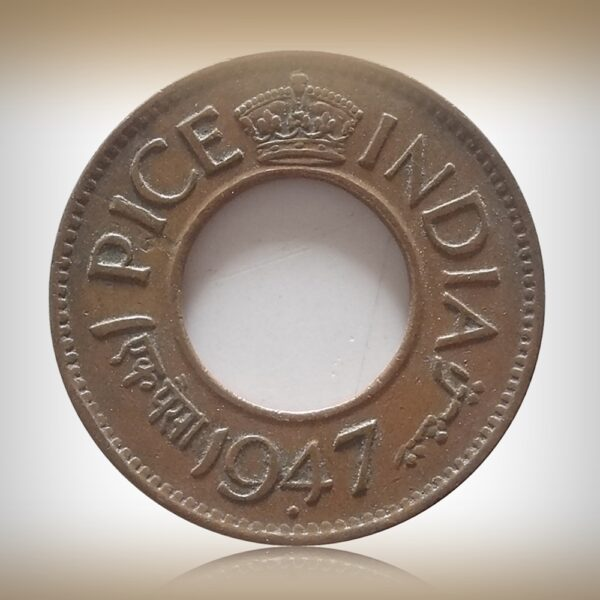 1947 1 Pice Hole Coin King George VI