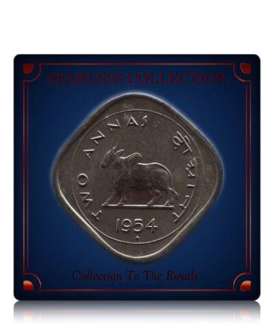 1954 BULL 2 ANNAS COIN