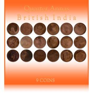 1938 1939 1940 1941 1/4 Quarter Anna King Edward VII & George VI - 9 Coins