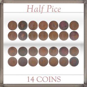 1939 1/2 Half Pice Coin King George VI Calcutta & Bombay Mint - 14 Coins