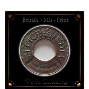 British India 1 Pice Die Error Coin