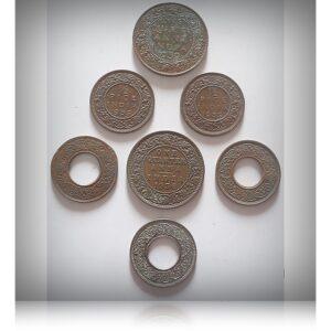 1939 1/2 Pice 1945 1 Pice 1936 1939 1/4 Anna Coins - 7 Coins