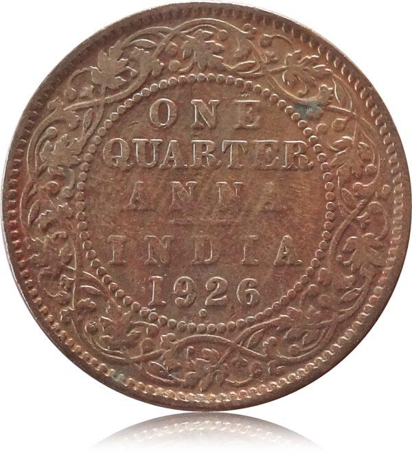 1926 1/4 Quarter Anna British India King George V