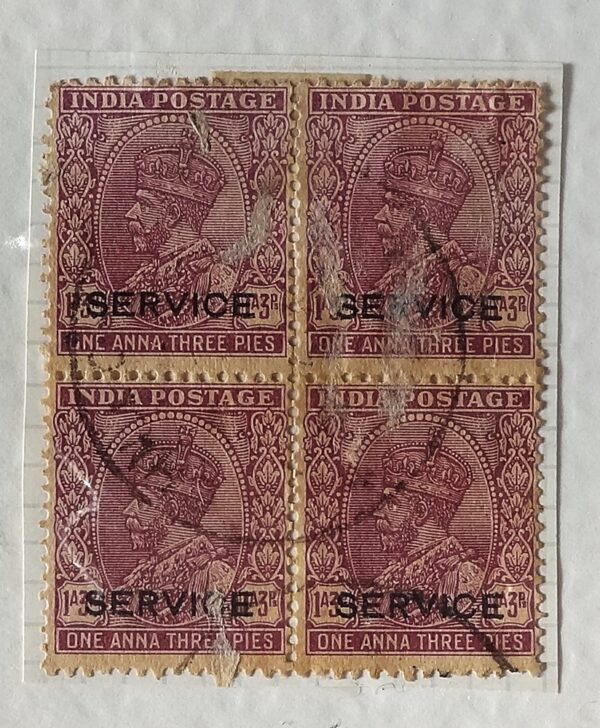 1 Anna 3 Pies King George V - Block of 4 Used Stamps