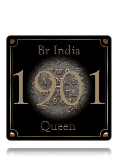 1901 Two Annas Queen Victoria Empress Silver Coin