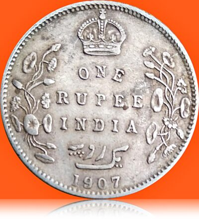 1907 1 Rupee Silver Rare Coin British India King Edward VII Bombay Mint