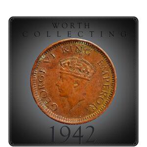 1942 1/12 Twelve Anna Coin British India King George VI