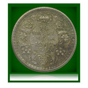 1942 1/4 Rupee George VI King Emperor - Calcutta Mint
