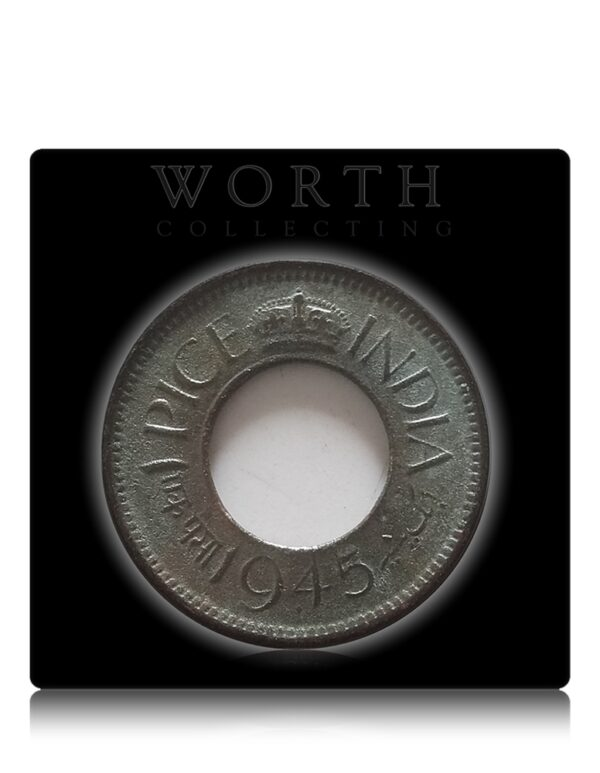 1945 1 Pice Hole Coin British India King George VI Bombay Mint