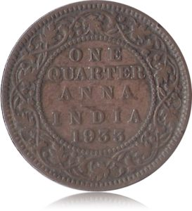 1933 1/4 Quarter Anna British India King George V Calcutta Mint - Best Buy