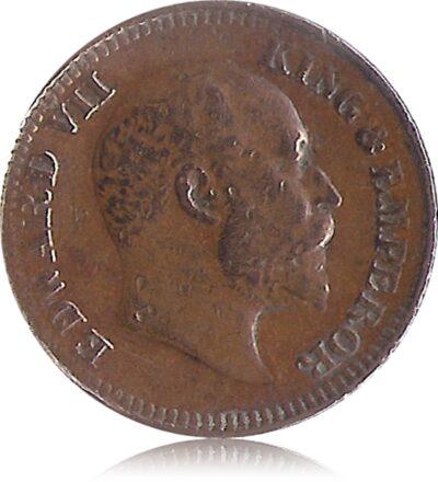 1909 1/2 Half Pice Coin British India King Edward VII Calcutta Mint