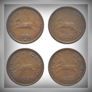 1951 1953 1954 1955 1 Pice horse Coin Bombay Mint - 4 Coins