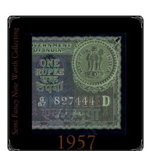 "1957  1 Rupee Note Sign By L.K.JHA Ending Fancy Number ""444"""
