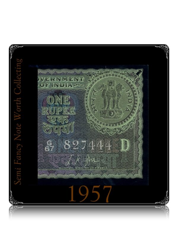 """1957 1 Rupee Note Sign By L.K.JHA Ending Fancy Number """"444"""""""