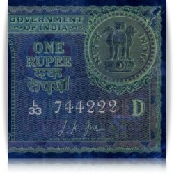 "1957  1 Rupee Note Sign By L.K.JHA Semi Fancy Number ""744222"