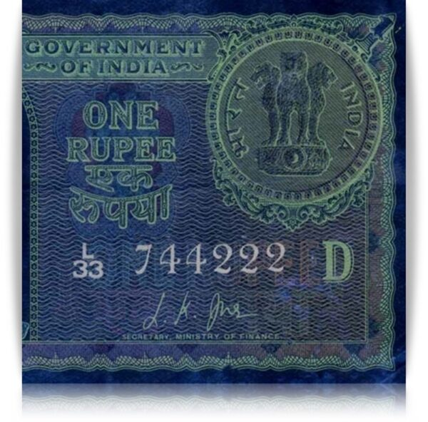 """1957 1 Rupee Note Sign By L.K.JHA Semi Fancy Number """"744222"""