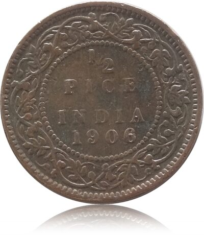 1906 1/2 Half Pice Coin British India King Edward VII