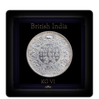 1938 1/2 Half Rupee Silver Coin British India King George VI Bombay Mint