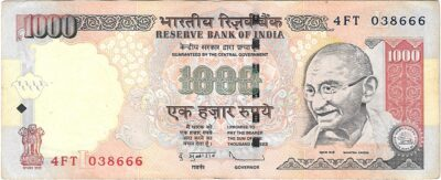 "1000 Rupee UNC Note 'L' Inset Fancy ending number ""666"" Sign By D Subbarao"