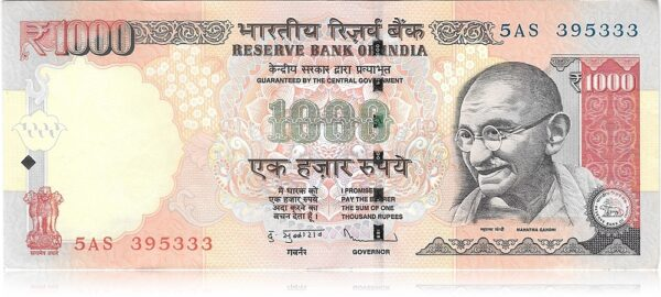 """1000 Rupee UNC Note Fancy ending number """"333"""" Sign By D Subbarao"""