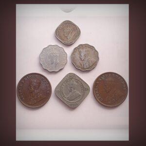 1946 1/2 Anna 1920 1/4 Anna 1936 1946 1 Anna 1936 2 Annas King George V & VI Coin - 6 Coins