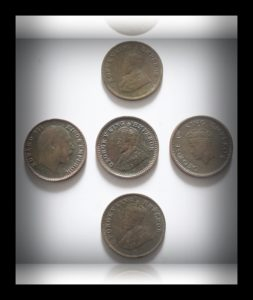 1905 1916 1920 1932 1939 1/12 Twelve Anna British India King Edward VII & George V VI - 5 Coins