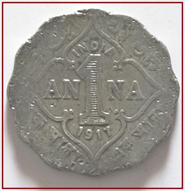 1917 1 Anna British India King George V Calcutta Mint