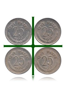 1977 25 Paise Republic India Copper Nickel Coin Hyderabad Mint - 4 Coins