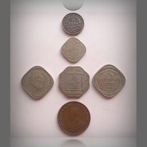 1835 1/12 Anna 1940 1946 1/2 Anna & 2 Annas 1920 4 Annas & 1/4 Anna Coins King George V & VI - 6 Coins