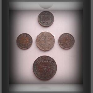 1934 1935 1/12 Anna 1919 1/4 Anna & 1 Anna & East India Company 1 Pie Coin - 5 Coins