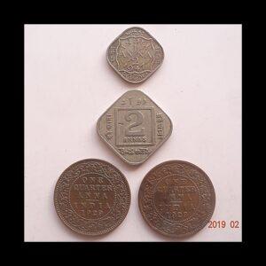 1947 1/2 Anna 1918 2 Annas 1929 1/4 Anna King George V & VI - 4 Coins