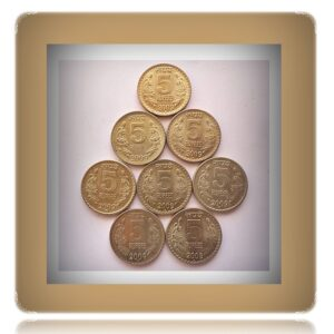2009 5 Rupees Republic Indian Coin Bombay & Hyderabad Mint - 8 Coins
