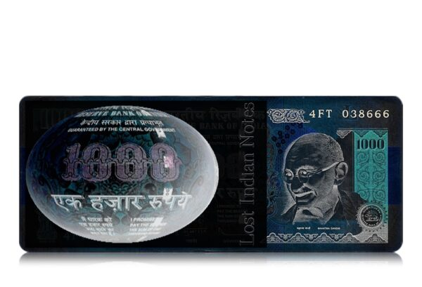"""1000 Rupee UNC Note 'L' Inset Fancy ending number """"666"""" Sign By D Subbarao"""