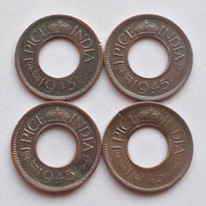 1945 1 pice George VI Bombay & Calcutta Mint - 4 coins