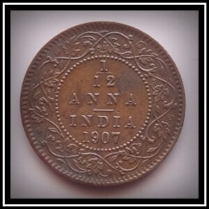 1907 1 pie 1/12 Twelve Anna King Edward VI - Worth Buy