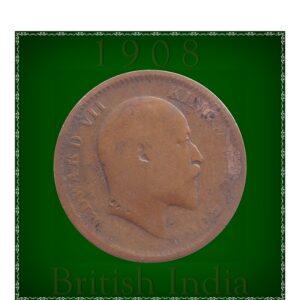 1908 1/4 Quarter Anna King Edward VII Calcutta Mint